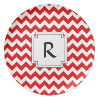 Custom Text or Monogram on Red Chevrons Melamine Plate