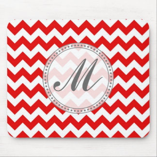Custom Text or Monogram on Red Chevrons Mouse Pad