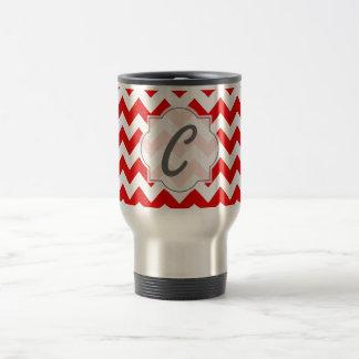 Custom Text or Monogram on Red Chevrons Coffee Mug