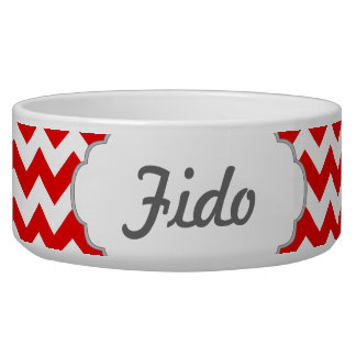 Custom Text or Monogram on Red Chevrons Dog Water Bowl