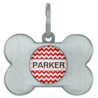 Custom Text or Monogram on Red Chevrons Pet Name Tag