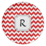 Custom Text or Monogram on Red Chevrons Party Plate
