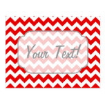 Custom Text or Monogram on Red Chevrons Post Card