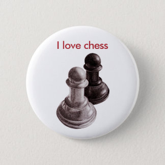 Custom Text Pencil Drawn Pawns Love Chess Pinback Button