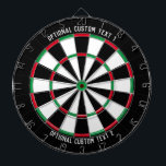 """Custom Text Personalized Classic Dart Board<br><div class=""""desc"""">Classic style dartboard with red,  green,  black and white segments,  with your personalized text on the top and bottom of the board.</div>"""