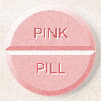 Custom Text Pink Pill Tablet Coaster