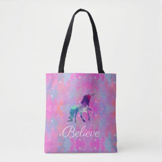 Custom Text Pink/Purple Galaxy Unicorn Tote Bag