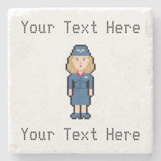 Custom Text Pixel Flight Attendant Stone Coaster
