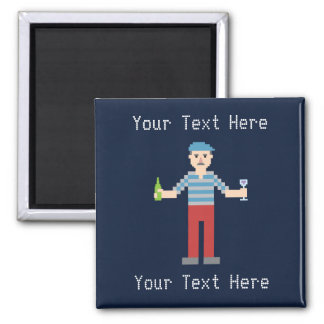 Custom Text Pixel French 2 Inch Square Magnet
