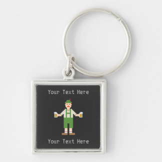 Custom Text Pixel German Silver-Colored Square Keychain
