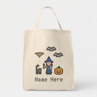 Custom Text Pixel Halloween Tote Bag