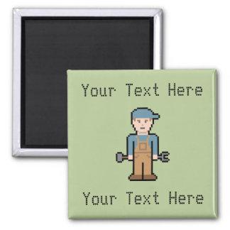 Custom Text Pixel Mechanic 2 Inch Square Magnet