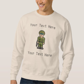 Custom Text Pixel Soldier Pullover Sweatshirt