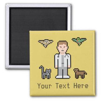 Custom Text Pixel Veterinarian 2 Inch Square Magnet