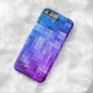 Custom Text Purple & Blue Pixels iPhone 6 case