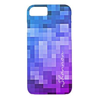Custom Text Purple & Blue Pixels iPhone 7 case