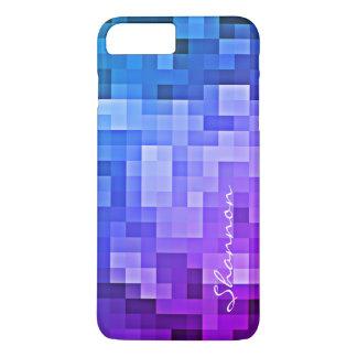 Custom Text Purple Blue Pixels iPhone 7 Plus case