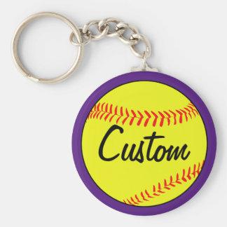 Custom Text Purple Fastpitch Softball Keychain