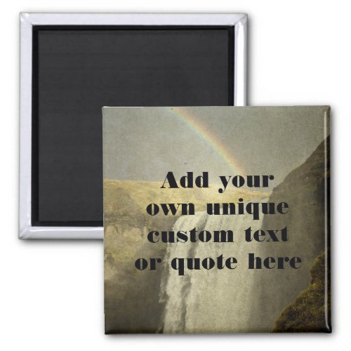 Custom Text  Quote Epic Waterfall and Rainbow Magnet