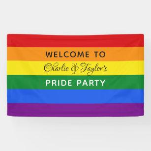 Custom text Rainbow Flag banner