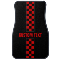 Custom Text Red Checkered Racing Stripe Car Mats