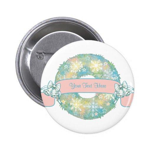 Custom Text Retro 50s Multicolor Christmas Wreath Pinback Buttons