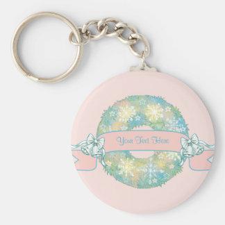 Custom Text Retro 50s Multicolor Christmas Wreath Basic Round Button Keychain