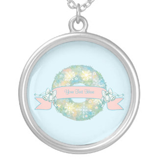 Custom Text Retro 50s Multicolor Christmas Wreath Round Pendant Necklace
