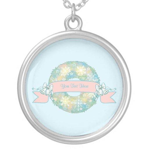 Custom Text Retro 50s Multicolor Christmas Wreath Jewelry