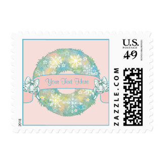 Custom Text Retro 50s Multicolor Christmas Wreath Postage Stamps