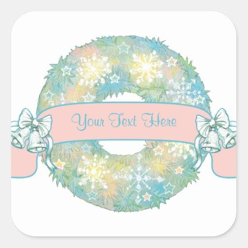 Custom Text Retro 50s Multicolor Christmas Wreath Square Sticker