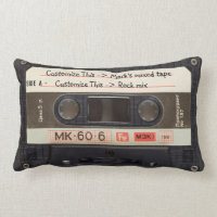 Custom Text / Retro Love Music Cassette Mixtape Lumbar Pillow