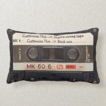 Custom Text / Retro Love Music Cassette Mixtape Lumbar Pillow