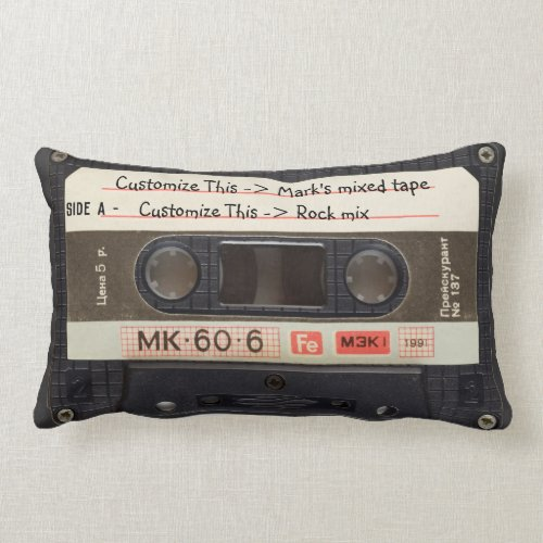 Custom Text  Retro Love Music Cassette Mixtape Lumbar Pillow