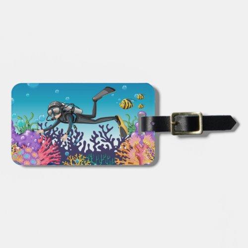 Custom text Scuba Diver luggage tags
