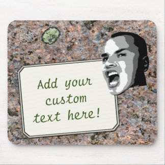 Custom Text Shout on Neutral Rock Texture Mouse Pad