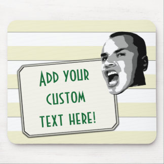 Custom Text Shout on Pastel Yellow Stripes Mouse Pad