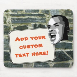 Custom Text Shout on Rustic Stone wall Structure Mouse Pad