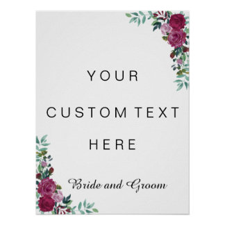 Custom text sign | watercolor roses