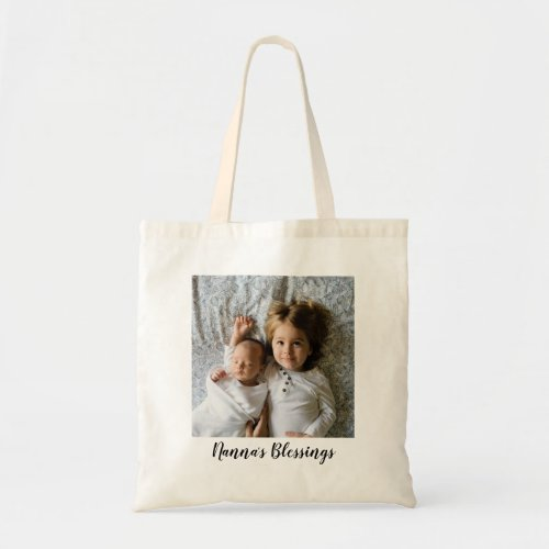 Custom Text Single Photo Tote Bag