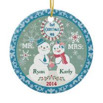 Custom Text Snowman Couple's First Christmas Ceramic Ornament