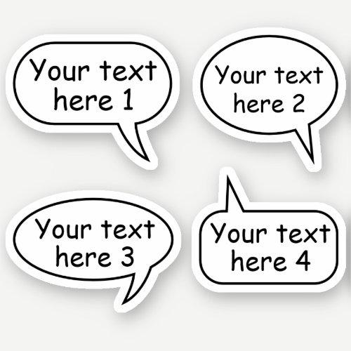 Custom text speech word bubbles sticker