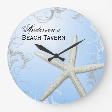 Professional Business Custom Text Starfish Flourish on Blue Wall Clock