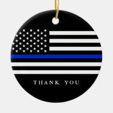 Custom Text Thin Blue Line Patriotic Flag Ceramic Ornament at Zazzle