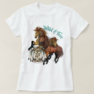 Custom Text Three Wild Stallions and Mandala Shirt