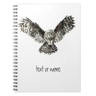 Custom Text, Watercolor Owl, Bird Animal, Nature Spiral Note Book