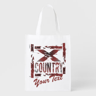 Custom Text XC Cross Country Running Grocery Bags
