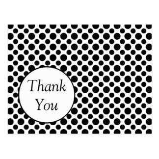 Custom Thank You Black Polka Dot Postcard