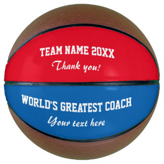 Custom thank you coach basketball ball