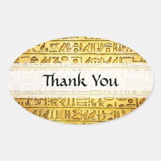 "Custom ""Thank You"" Egyptian Hieroglyphs Yellow Oval Sticker"